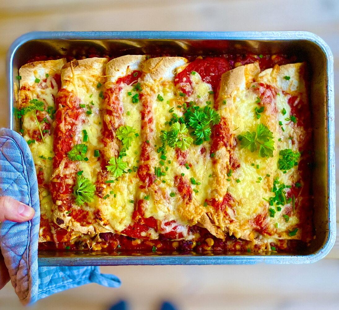 vegetariska enchiladas bönor